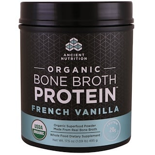 Dr. Axe / Ancient Nutrition, Organic Bone Broth Protein, French Vanilla, 17.5 oz (495 g)
