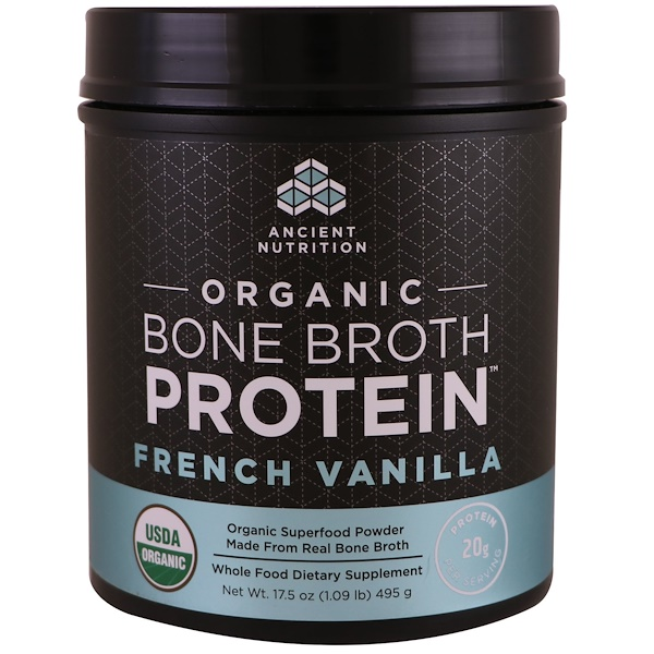 Dr. Axe / Ancient Nutrition, Protéines de bouillon d'os bio, Vanille française, 17.5 oz (495 g) (Discontinued Item)
