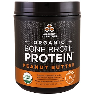 Dr. Axe / Ancient Nutrition, Organic Bone Broth Protein, Peanut Butter, 19.5 oz (554 g)