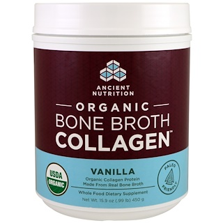 Dr. Axe / Ancient Nutrition, Organic Bone Broth Collagen, Vanilla, 15.9 oz (450 g)