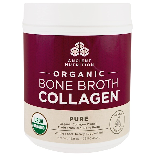 Dr. Axe / Ancient Nutrition, Organic Bone Broth Collagen, Pure, 15.9 oz (450 g) (Discontinued Item)