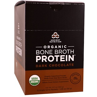 Dr. Axe / Ancient Nutrition, Organic Bone Broth Protein, Dark Chocolate, 12 Single Serve Packets, 1.06 oz (30 g) Each