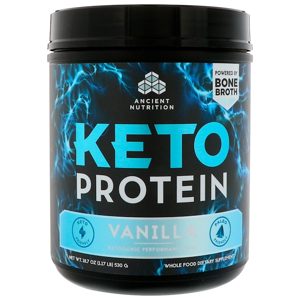 Dr. Axe / Ancient Nutrition, Keto Protein, Ketogenic Performance Fuel, Vanilla, 18.7 oz (530 g) (Discontinued Item)