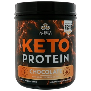 Dr. Axe / Ancient Nutrition, Keto Protein, Ketogenic Performance Fuel, Chocolate, 19 oz (540 g)