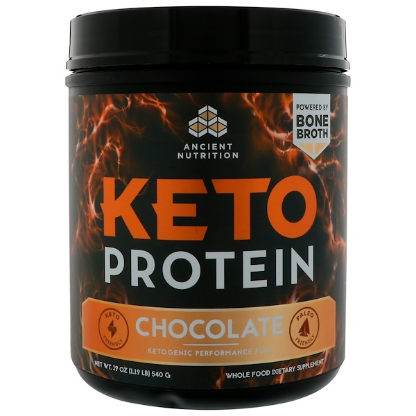 Dr. Axe / Ancient Nutrition, Keto Protein, Ketogenic Performance Fuel, Chocolate, 19 oz (540 g) (Discontinued Item)