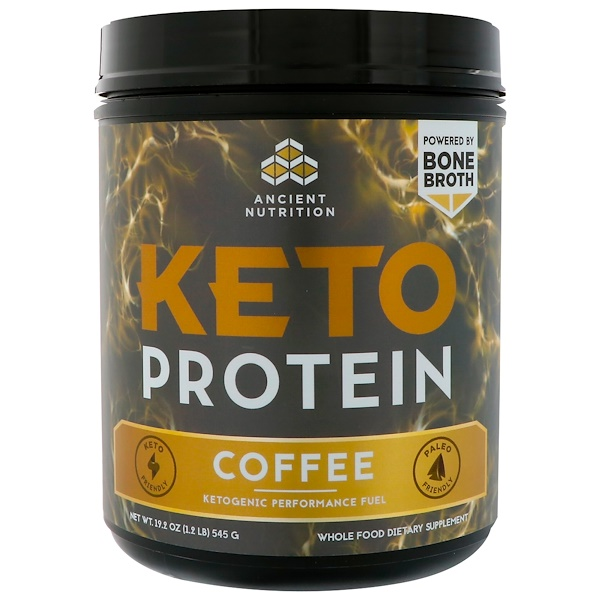 Dr. Axe / Ancient Nutrition, Keto Protein, Ketogenic Performance Fuel, Coffee, 1.2 lbs (545 g)
