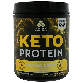 Dr. Axe / Ancient Nutrition, Keto Protein, Ketogenic Performance Fuel, Banana Creme, 19 oz (540 g)