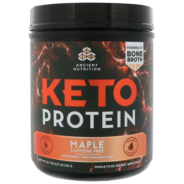 Dr. Axe / Ancient Nutrition, Keto Protein, Ketogenic Performance Fuel, Caffeine Free, Maple, 18.7 oz (530 g) (Discontinued Item)