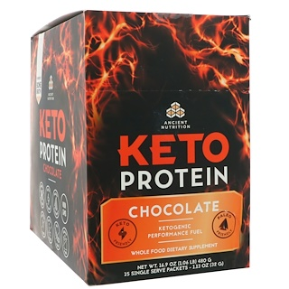 Dr. Axe / Ancient Nutrition, Keto Protein, Ketogenic Performance Fuel, Chocolate, 15 Single Serve Packets, 1.13 oz (32 g) Each
