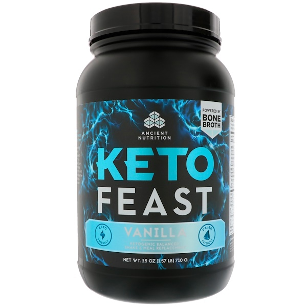 Dr. Axe / Ancient Nutrition, Keto Feast, Ketogenic Balanced Shake & Meal Replacement, Vanilla, 1.56 lbs (710 g)