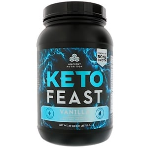 Dr. Axe / Ancient Nutrition, Keto Feast, Ketogenic Balanced Shake & Meal Replacement, Vanilla, 1.56 lbs (710 g) отзывы