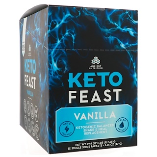 Dr. Axe / Ancient Nutrition, Keto Feast, Ketogenic Balanced Shake & Meal Replacement, Vanilla, 12 Single Serve Packets, 1.65 oz (47 g) Each