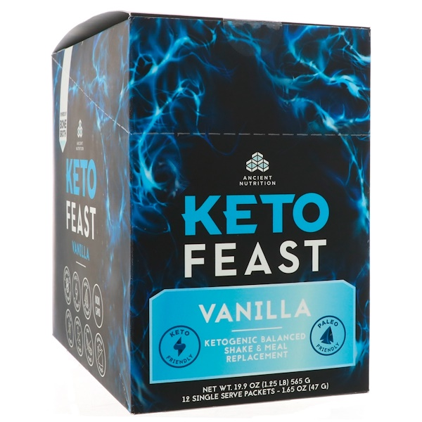 Dr. Axe / Ancient Nutrition, Keto Feast, Ketogenic Balanced Shake & Meal Replacement, Vanilla, 12 Single Serve Packets, 1.65 oz (47 g) Each (Discontinued Item)