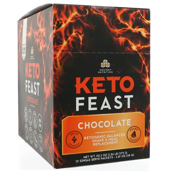 Dr. Axe / Ancient Nutrition, Keto Feast, Ketogenic Balanced Shake & Meal Replacement, Chocolate, 12 Single Serve Packets, 1.69 oz (48 g) each