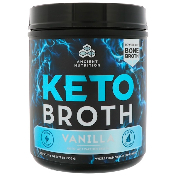 Dr. Axe / Ancient Nutrition, Keto Broth, Keto Activation Broth, Vanilla, 1.22 lbs (555 g) (Discontinued Item)