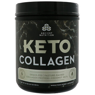 Dr. Axe / Ancient Nutrition, Keto Collagen, Grass-Fed, Pasture-Raised, Collagen Protein + Coconut MCTs, 1.9 lbs (540 g)