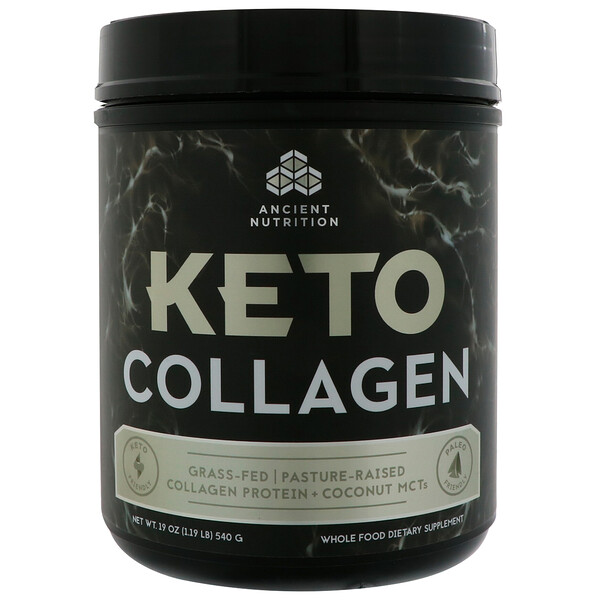 Dr. Axe / Ancient Nutrition, Keto Collagen, Grass-Fed, Pasture-Raised, Collagen Protein + Coconut MCTs, 1.19 lbs (540 g)