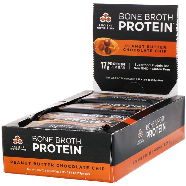 Dr. Axe / Ancient Nutrition, Bone Broth Protein Bar, Peanut Butter Chocolate Chip, 12 Bars, 1.94 oz (55 g) Each