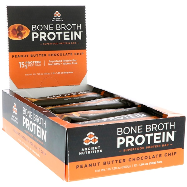 Dr、 Axe  Ancient Nutrition, Bone Broth Protein Bar, Peanut Butter Chocolate Chip, 12 Bars, 1、94 oz (55 g) Each