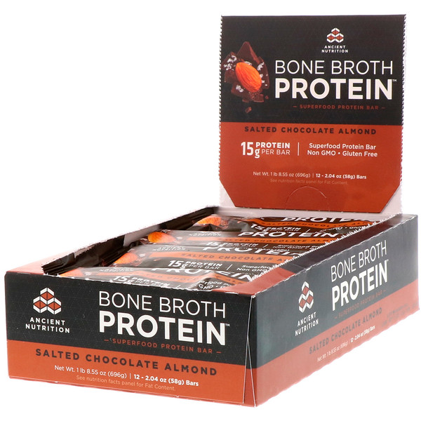 Dr. Axe / Ancient Nutrition, Bone Broth Protein Bar, Salted Chocolate Almond, 12 Bars, 2.04 oz (58 g) Each