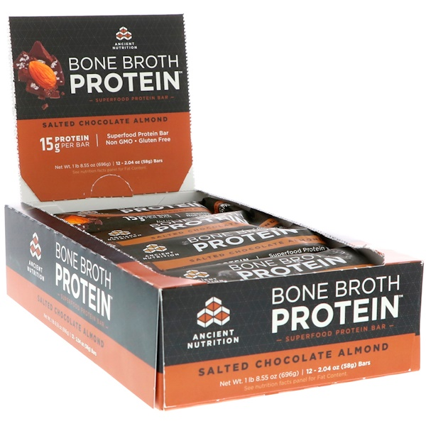 Dr、 Axe  Ancient Nutrition, Bone Broth Protein Bar, Salted Chocolate Almond, 12 Bars, 2、04 oz (58 g) Each