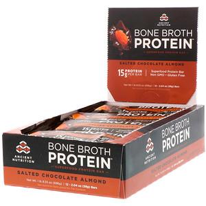 Dr. Axe / Ancient Nutrition, Bone Broth Protein Bar, Salted Chocolate Almond, 12 Bars, 2.04 oz (58 g) Each отзывы