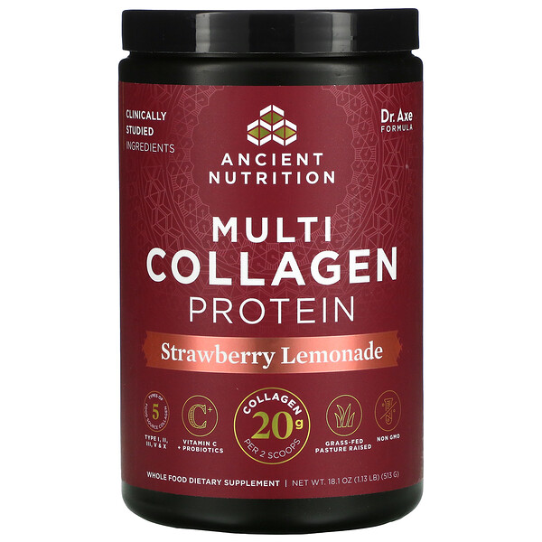 Multi Collagen Protein, Strawberry Lemonade, 1.13 lbs (513 g)