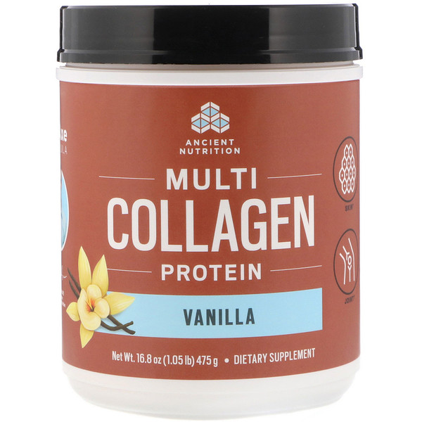 Dr. Axe / Ancient Nutrition, Multi Collagen Protein, Vanilla, 16.8 oz (475 g)