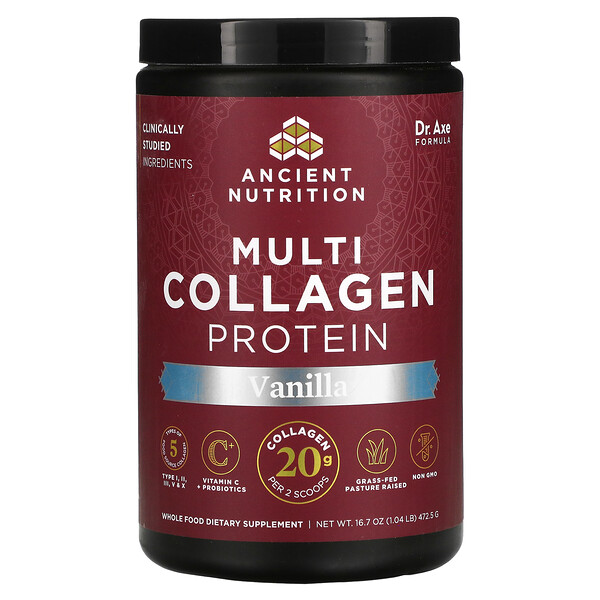 Proteína con múltiples tipos de colágeno, Vainilla, 477g (1,05lb)