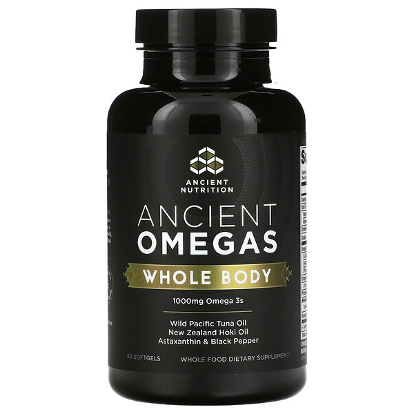 Dr. Axe / Ancient Nutrition, Ancient Omegas, Whole Body, 90 Softgels