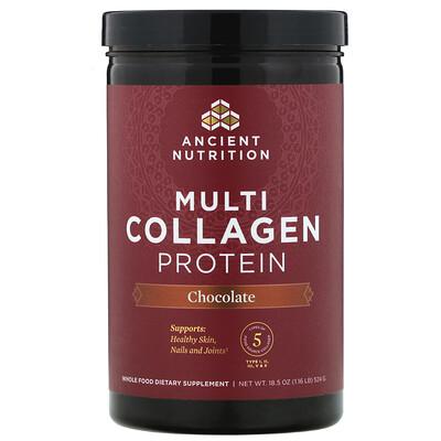 Купить Dr. Axe / Ancient Nutrition Multi Collagen Protein, Chocolate, 1.16 lb (524 g)