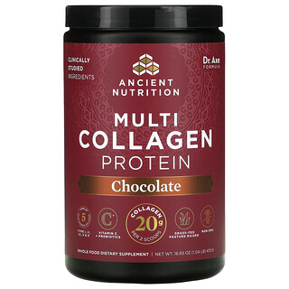Dr. Axe / Ancient Nutrition, Multi Collagen Protein, Chocolate, 1.04 lb (472 g)