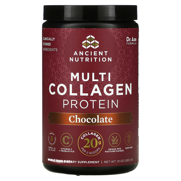 Dr. Axe / Ancient Nutrition, Multi Collagen Protein, Chocolate, 10 oz (283.2 g)