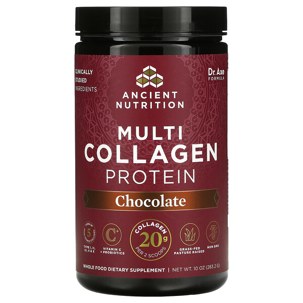 Dr. Axe / Ancient Nutrition, Multi Collagen Protein, Chocolate, 10 oz ( 283.2 g)
