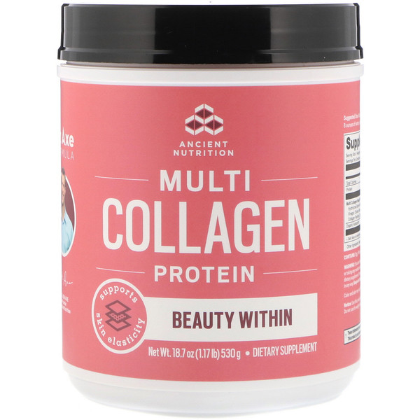 Dr. Axe / Ancient Nutrition, Multi Collagen Protein Powder, Beauty Within, Refreshing Natural Watermelon Flavor, 1.17 lbs (530 g) (Discontinued Item)