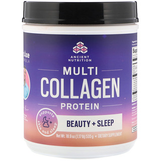 Dr. Axe / Ancient Nutrition, Multi Collagen Protein, Beauty + Sleep, Calming Natural Lavender Flavor, 1.17 lbs (535 g)