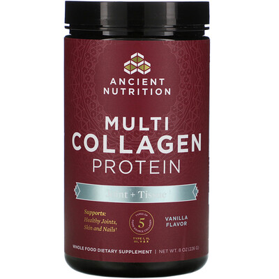 Dr. Axe / Ancient Nutrition Multi Collagen Protein, Joint + Tissue, Vanilla, 8 oz (226 g)