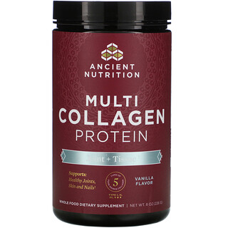 Dr. Axe / Ancient Nutrition, Multi Collagen Protein, Joint + Tissue,  Vanilla, 8 oz (226 g)