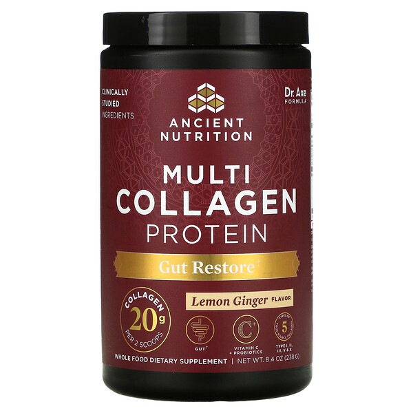 Multi Collagen Protein, Gut Restore,  Lemon Ginger, 8.4 oz (238 g)