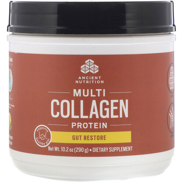 Dr. Axe / Ancient Nutrition, Multi Collagen Protein, Gut Restore, Natural Lemon Ginger, 10.2 oz (290 g)