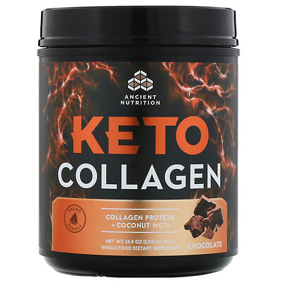 Dr. Axe / Ancient Nutrition Keto Collagen, Collagen Protein + Coconut MCTs, Chocolate, 1.03 lb (460 g)