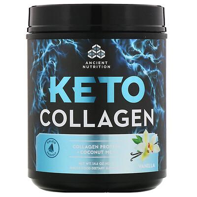 Купить Dr. Axe / Ancient Nutrition Keto Collagen, протеин с коллагеном+кокосовые среднецепочечные триглицериды, ваниль, 415г (14, 6унции)