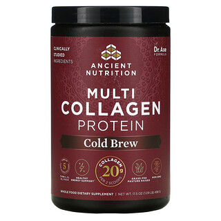 Dr. Axe / Ancient Nutrition, Multi Collagen Protein, Cold Brew, 1.09 lb (496 g)