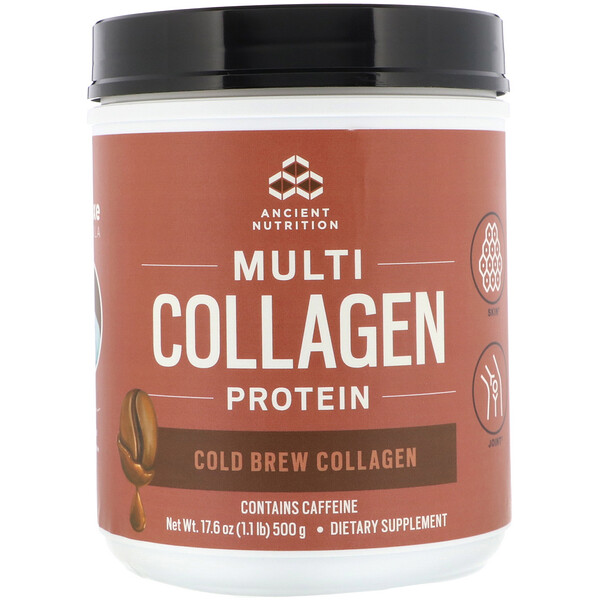 Dr. Axe / Ancient Nutrition, Multi Collagen Protein, Cold Brew Collagen, 1.1 lbs (500 g)