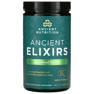 Dr. Axe / Ancient Nutrition, Ancient Energy Elixirs, Superfood Matcha, 7.5 oz (214 g)