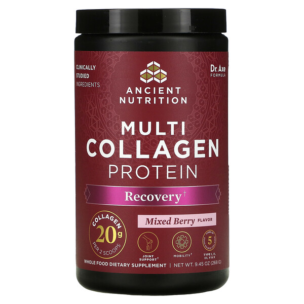 Dr. Axe / Ancient Nutrition, Multi Collagen Protein, Recovery, Mixed Berry, 9.45 oz (268 g)