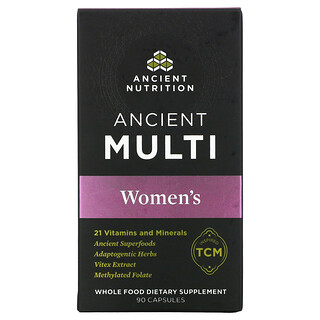Dr. Axe / Ancient Nutrition, Ancient Multi,適合女性,90 粒膠囊