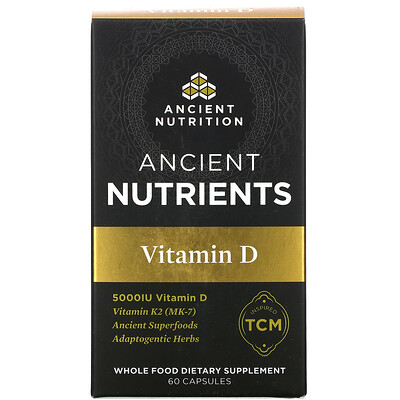 Dr. Axe / Ancient Nutrition Ancient Nutrients, Vitamin D, 5,000 IU, 60 Capsules
