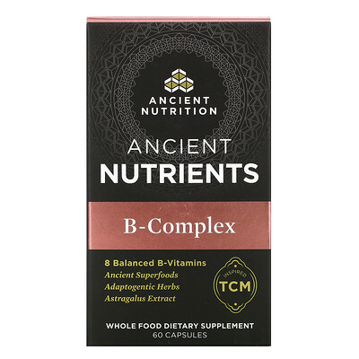 Dr. Axe / Ancient Nutrition Ancient Nutrients, B-Complex, 60 Capsules