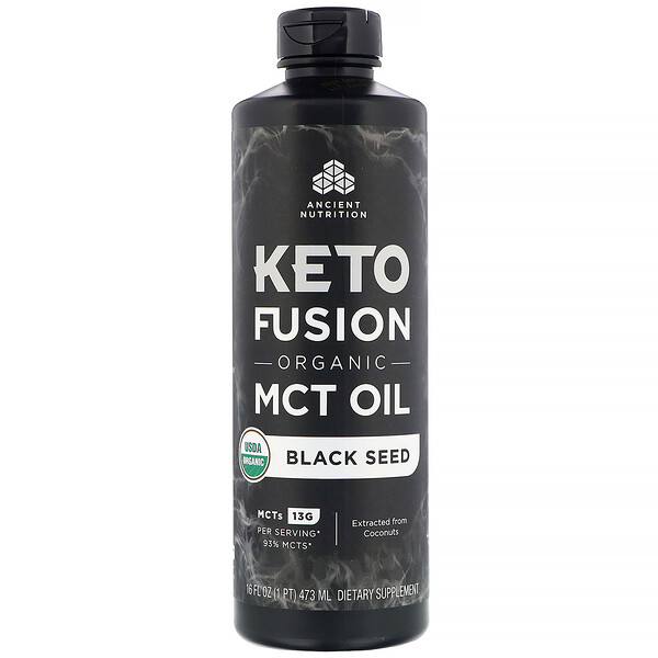 Dr. Axe / Ancient Nutrition, Keto Fusion Organic MCT Oil, Black Seed, 16 fl oz (473 ml)
